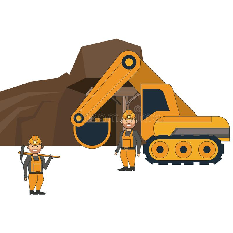 Mining cave with workers and backhoe. Vector illustration graphic design stock illustration