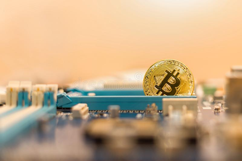Mining cryptocurrency industry. Bitcoin, blockchain technology royalty free stock photos