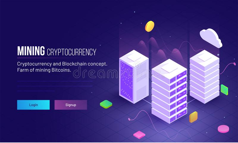 Mining Cryptocurrency responsive hero image or landing page design for farm mining bitcoins and blockchain concept. stock illustration