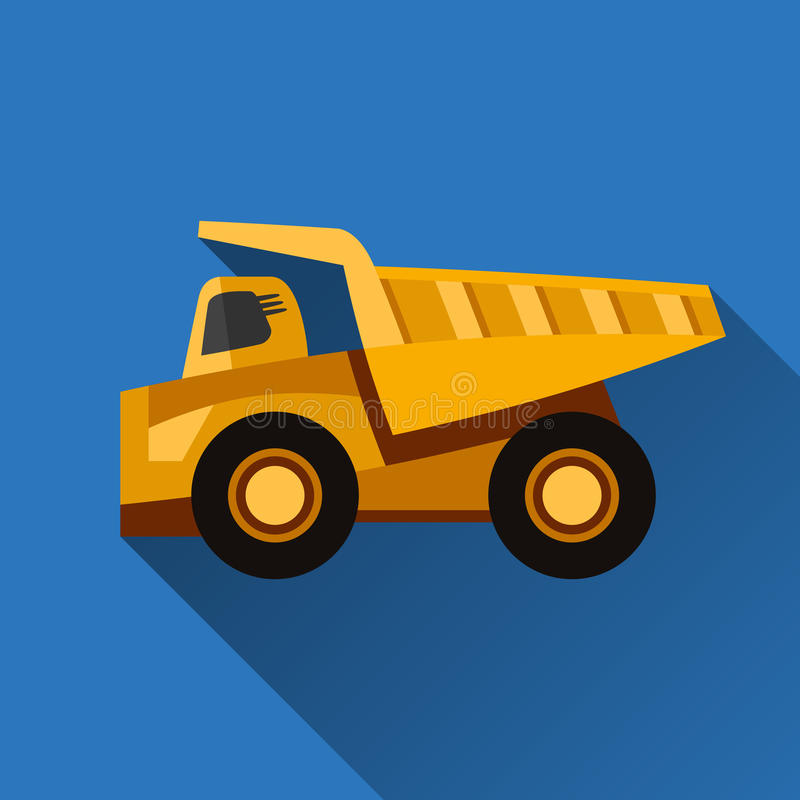 Mining dump truck. Classic dump truck flat style icon with shadow royalty free illustration