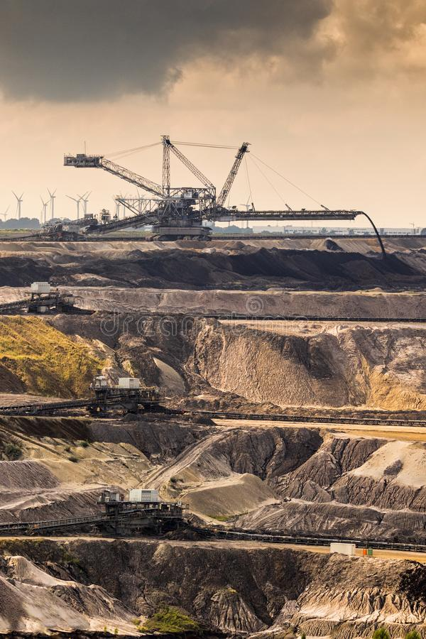 Mining equipment open pit mine. Mining equipment in a Brown Coal Open Pit Mine royalty free stock image