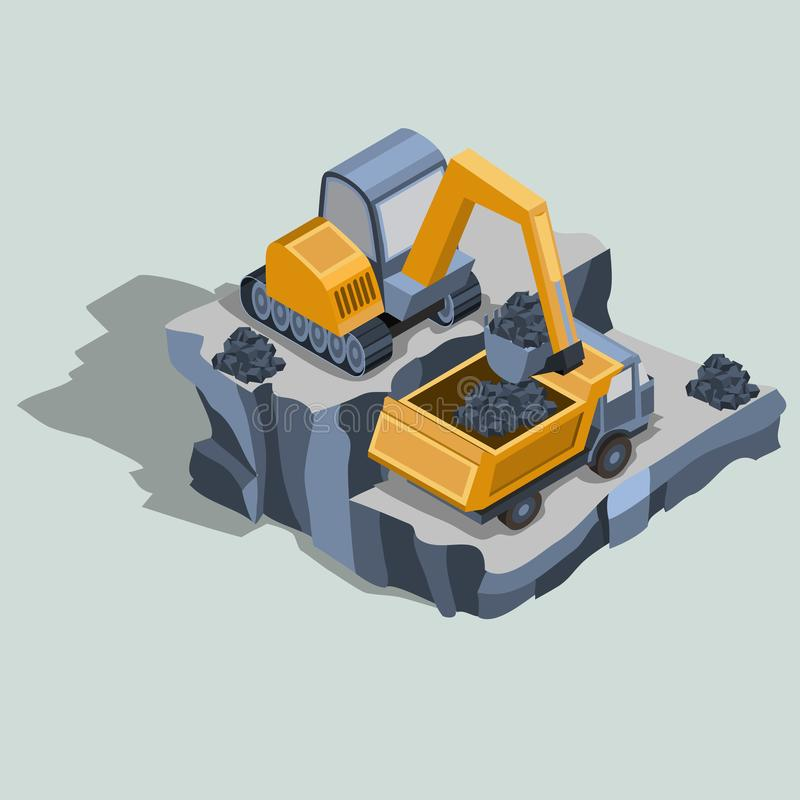 Mining excavator loads coal in a dump truck isometric vector royalty free illustration