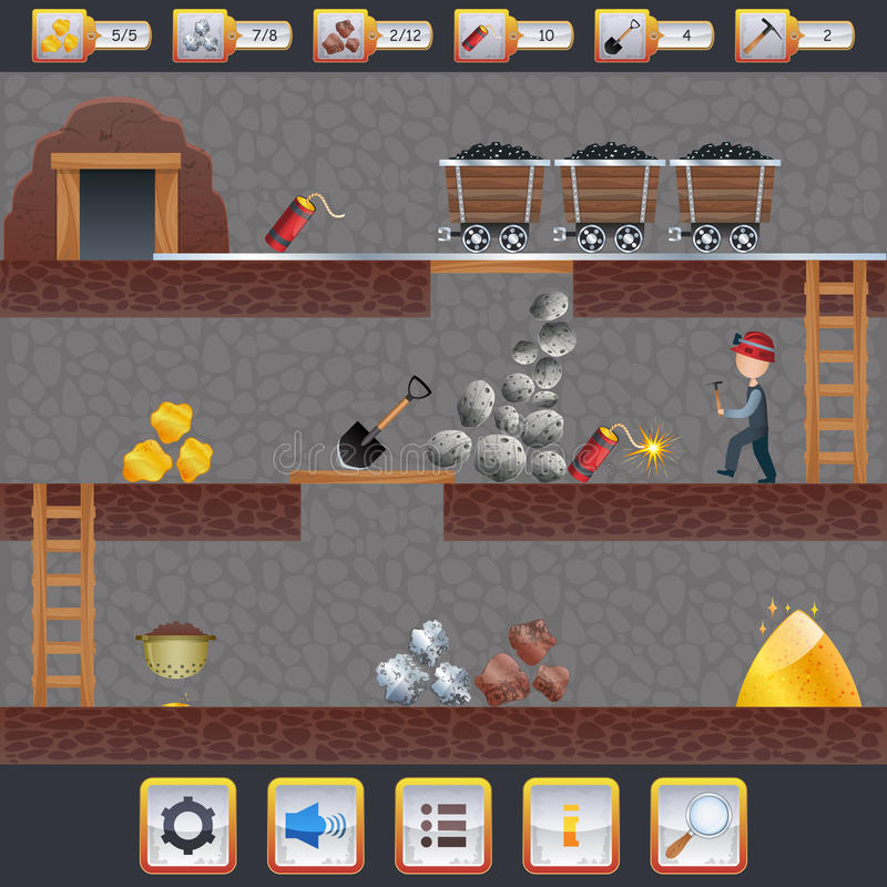Mining Game Interface. Mining game treasure hunt interface with assets signs and miner vector illustration vector illustration