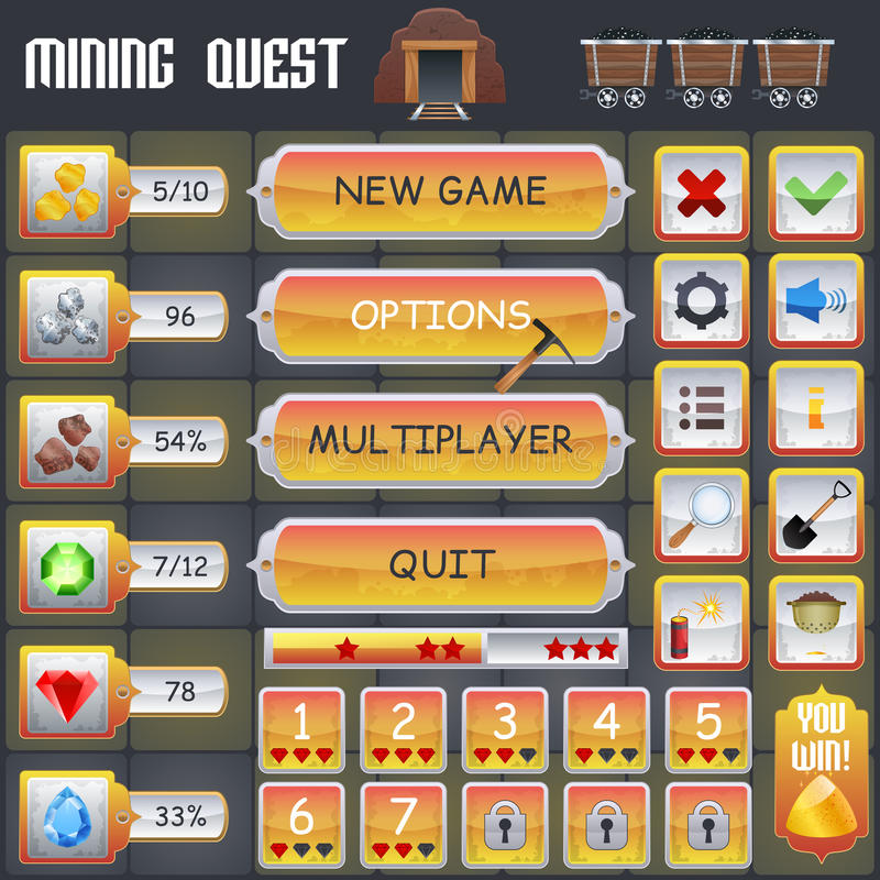 Mining Game Interface. Mining treasure hunt game menu interface with cartoon treasure symbols vector illustration royalty free illustration