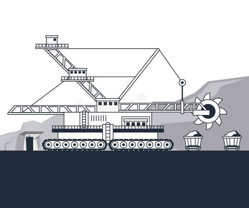 Mining hydraulic excavator. On mine in black and white vector illustration graphic design royalty free illustration