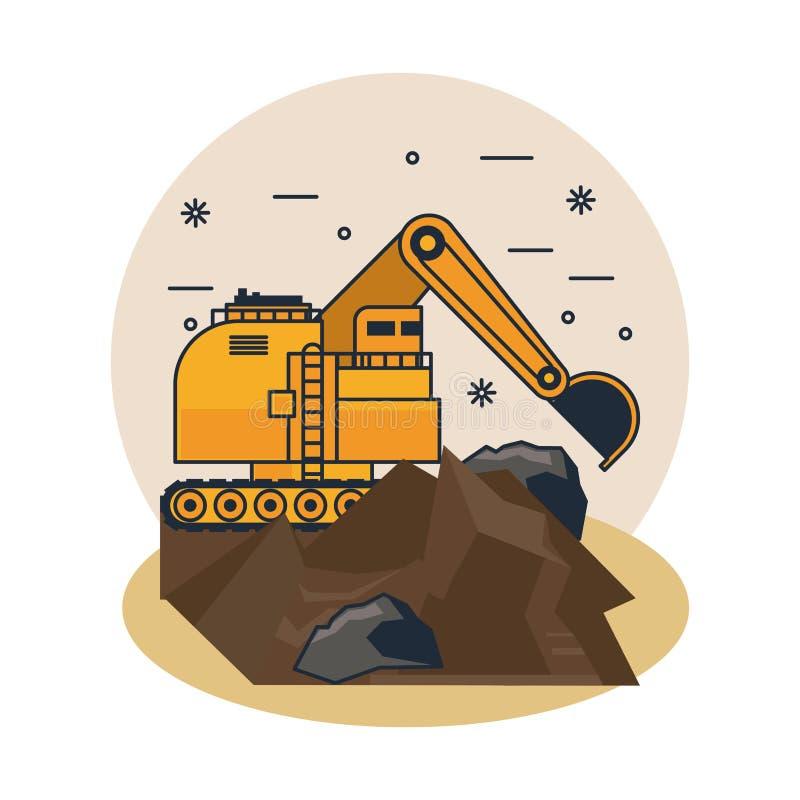 Mining hydraulic excavator. Rock vector illustration graphic design royalty free illustration