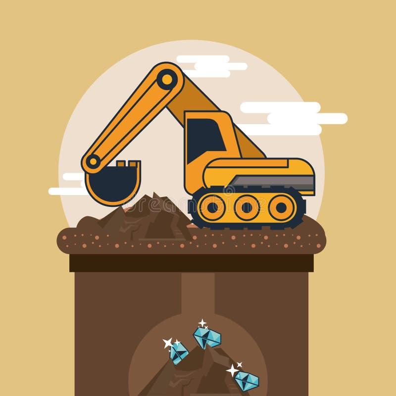 Mining hydraulic excavator. Vector illustration graphic design vector illustration