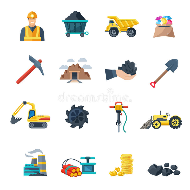 Mining Icons Flat vector illustration