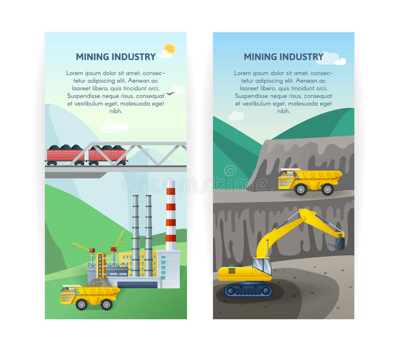 Mining Industry Banners Set. Two vertical mining industry banners with coal extraction processing and transportation cartoon scenery and editable text vector royalty free illustration