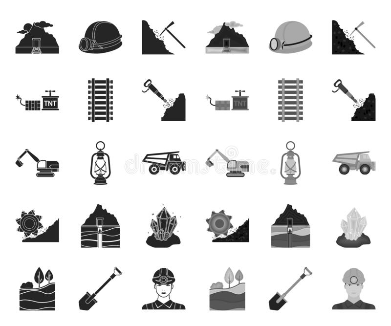 Mining industry black.mono icons in set collection for design. Equipment and tools vector symbol stock web illustration. stock illustration