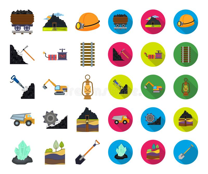 Mining industry cartoon,flat icons in set collection for design. Equipment and tools vector symbol stock web vector illustration