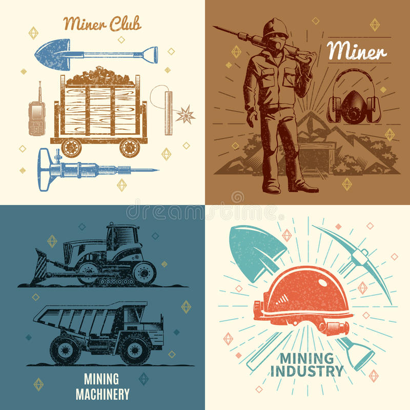Mining Industry Concept. In retro style with worker and mountain professional club and equipment isolated vector illustration vector illustration