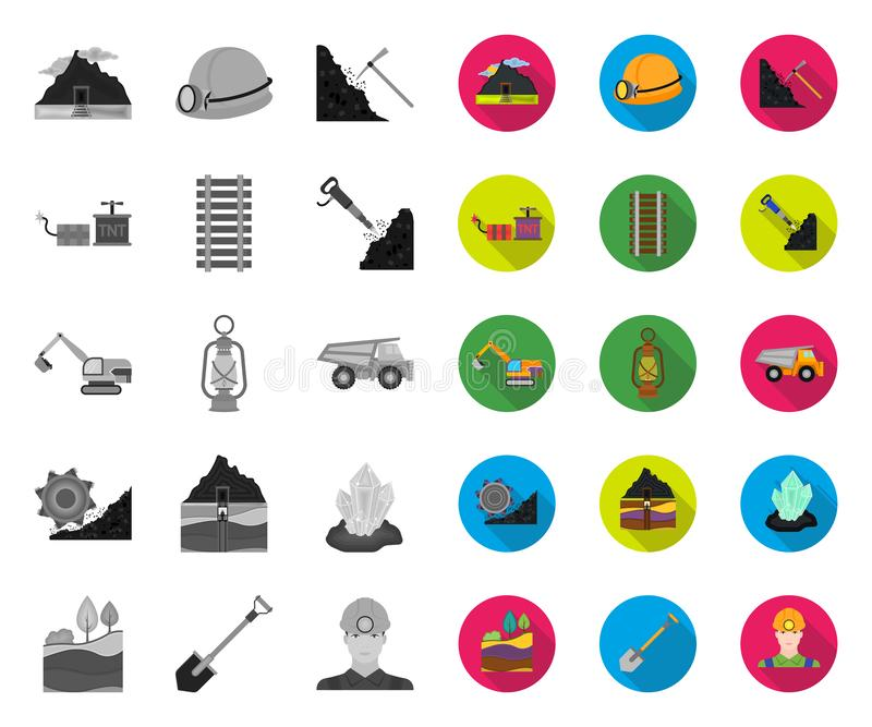 Mining industry mono,flat icons in set collection for design. Equipment and tools vector symbol stock web illustration. stock illustration
