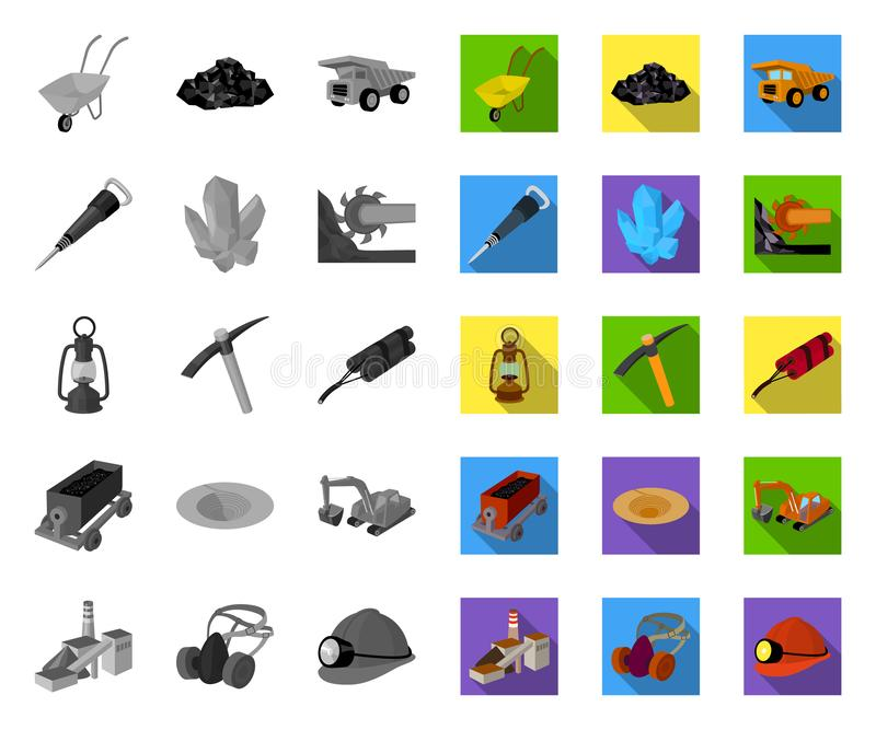 Mining industry mono,flat icons in set collection for design. Equipment and tools vector symbol stock web illustration. royalty free illustration