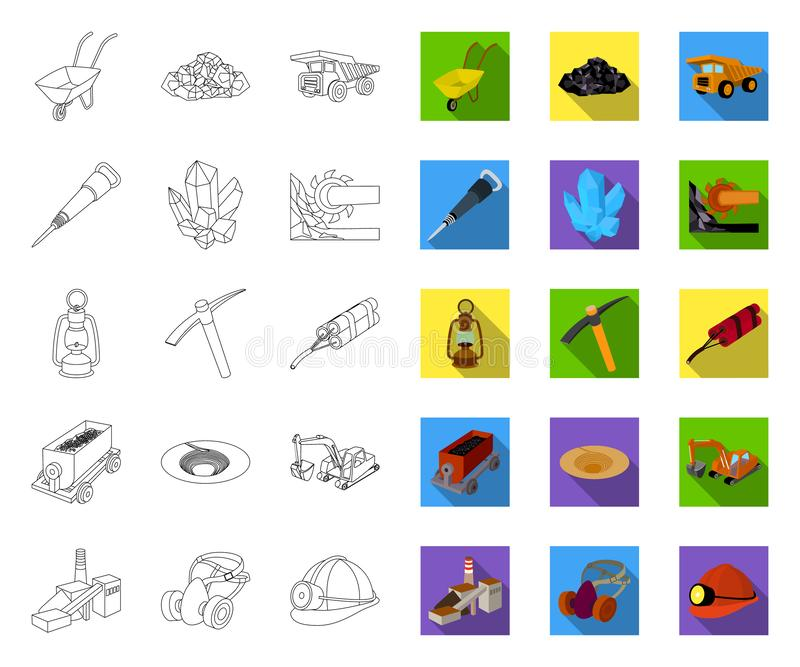 Mining industry outline,flat icons in set collection for design. Equipment and tools vector symbol stock web royalty free illustration