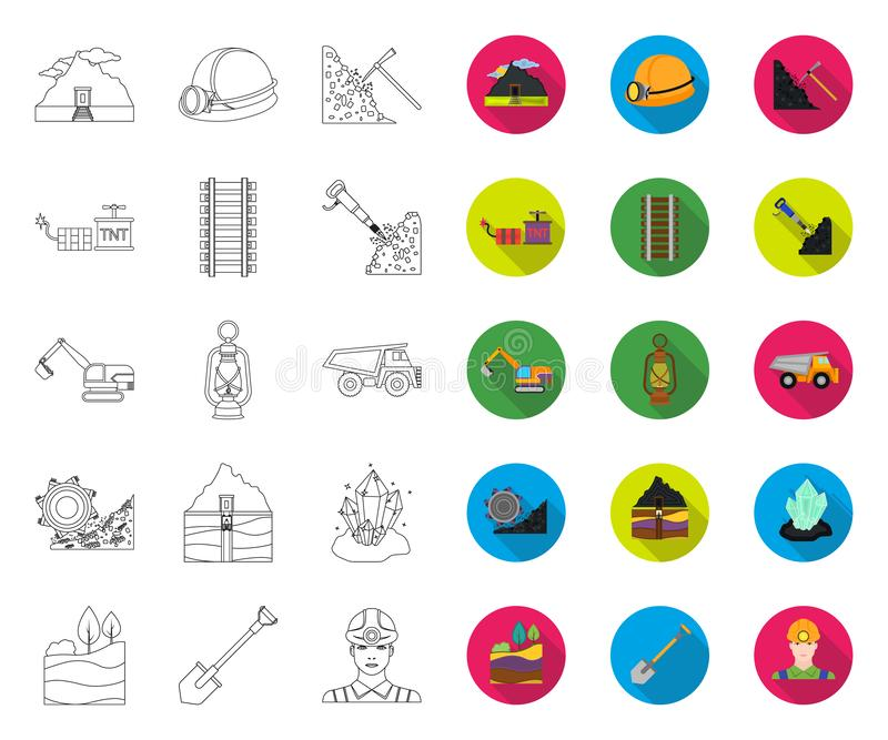 Mining industry outline,flat icons in set collection for design. Equipment and tools vector symbol stock web vector illustration