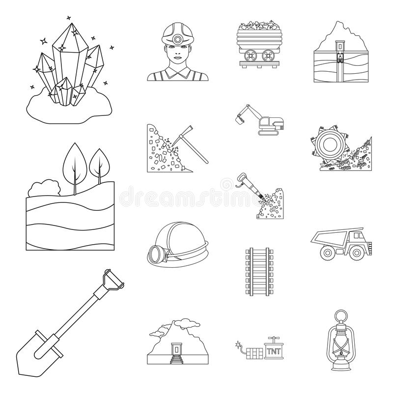 Mining industry outline icons in set collection for design. Equipment and tools vector symbol stock web illustration. stock illustration