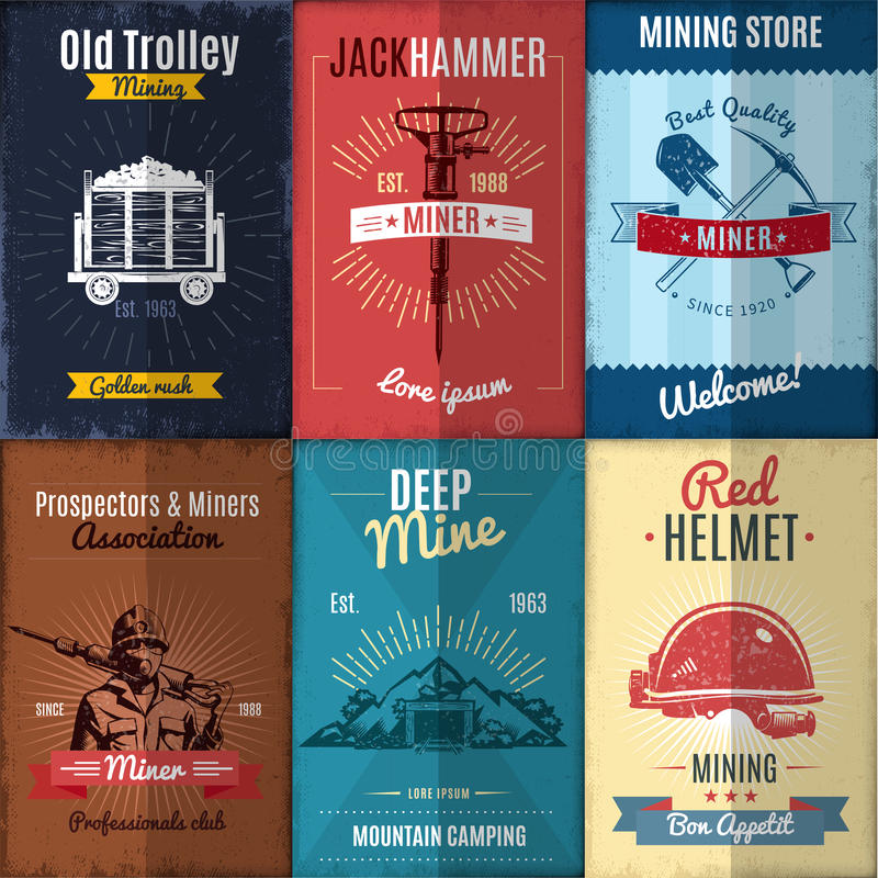 Mining Industry Posters Collection vector illustration