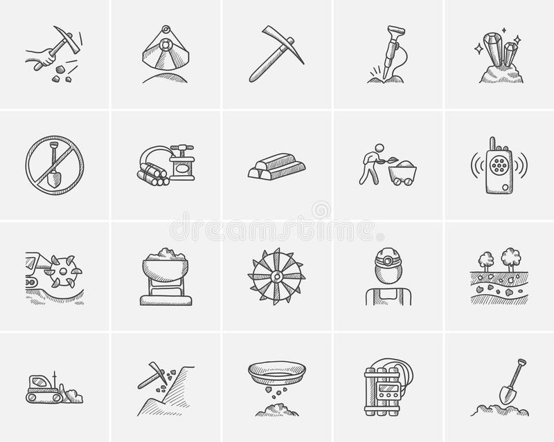 Mining industry sketch icon set. Mining industry sketch icon set for web, mobile and infographics. Hand drawn mining industry icon set. Mining industry vector vector illustration
