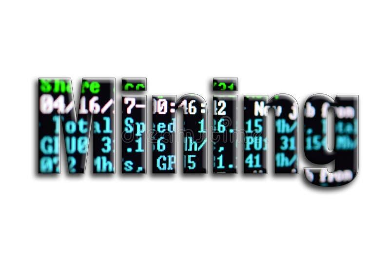 mining La inscripción tiene una textura de la fotografía, que representa la pantalla minera del software del cryptocurrency foto de archivo