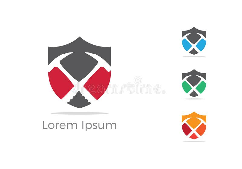 Mining logo design, mechanic tools in shield icon. Car repair service, wrench, plumber illustration. stock illustration