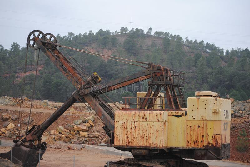 Mining machine for the extraction of minerals and ore. Excavating machine on display for visitors at the Rio Tinto mine. Property of the Rio Tinto Company, which stock photo