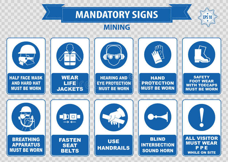 Mining mandatory sign. (safety helmet with flashlight must be worn, use handrails, dust mask, breathing apparatus, goggles, hearing protection, fasten seat royalty free stock image