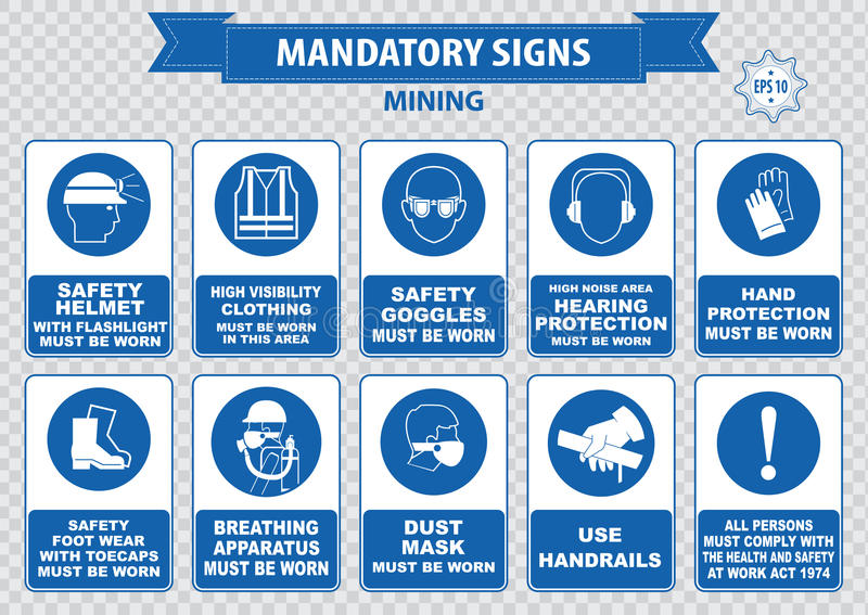 Mining mandatory sign. (safety helmet with flashlight must be worn, use handrails, dust mask, breathing apparatus, goggles, hearing protection, fasten seat stock image
