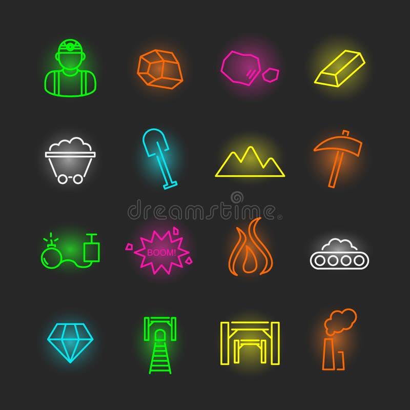 Mining neon icon set stock illustration