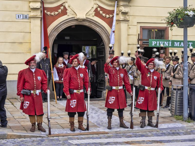 JIHLAVA CZECH REPUBLIC JUNE 22Th. 2019, The Mining Parade, June 22th. 20 Th, Jihlava, Czech Republic stock images