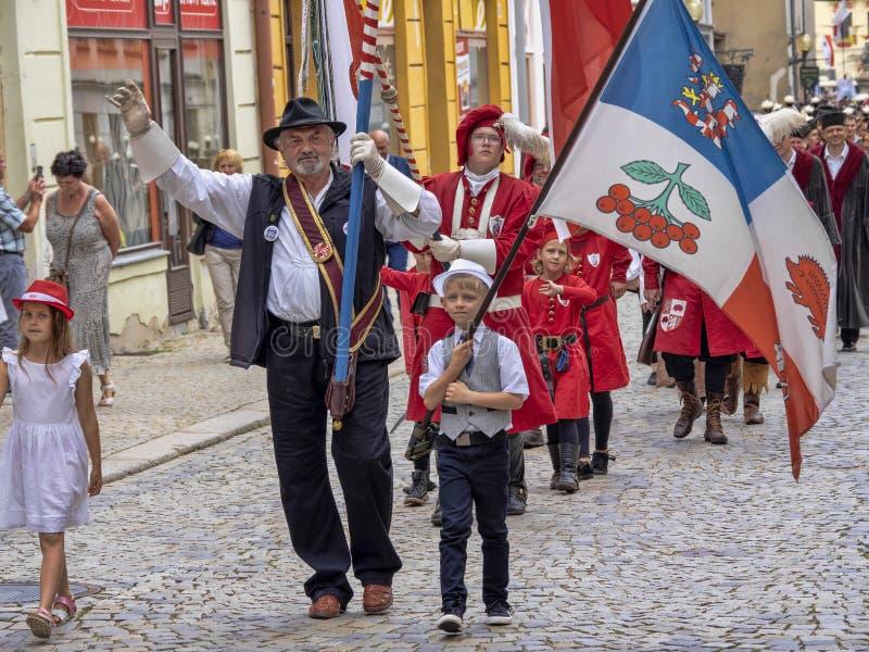 JIHLAVA CZECH REPUBLIC JUNE 22Th. 2019, The Mining Parade, June 22th. 20 Th, Jihlava, Czech Republic. The Mining Parade, June 22th. 20 Th, Jihlava, Czech royalty free stock images