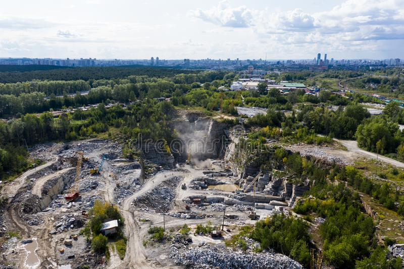 Mining plant. Marble quarry. Open-cast mine. Industrial landscape. royalty free stock photography