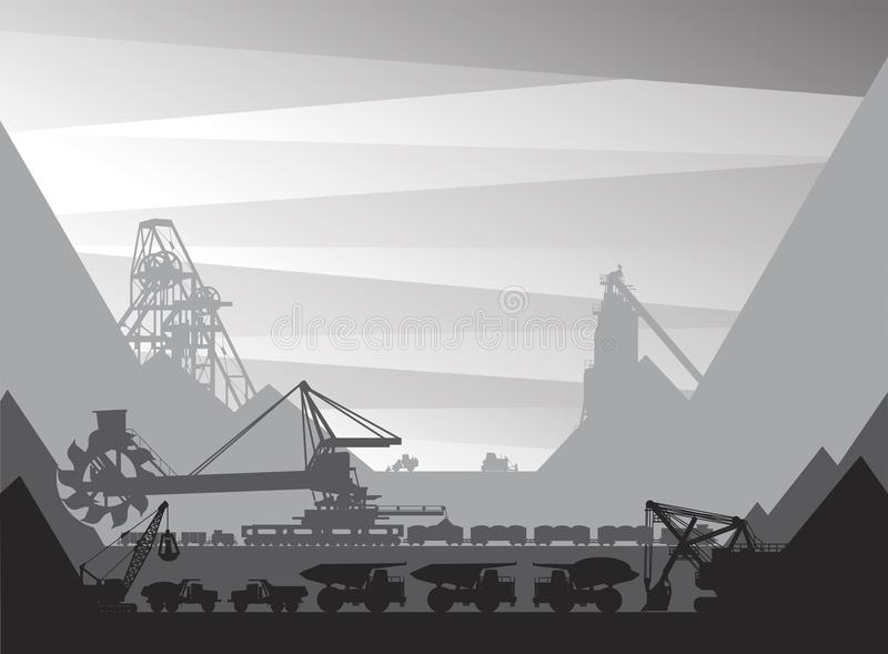 Mining plant on which the extraction of minerals is conducted. The development of minerals by open pit in quarry vector illustration