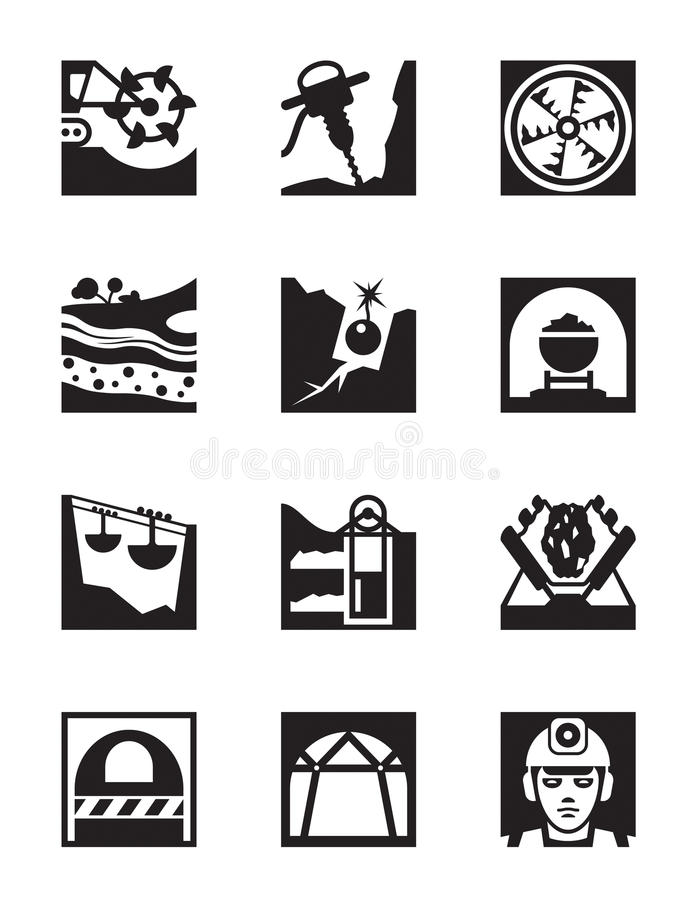 Mining and quarrying industry icon set stock illustration