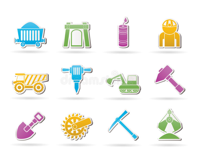 Mining and quarrying industry objects and icons
