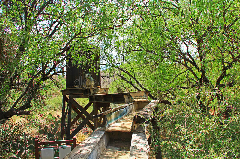 Mining Sluice on La Posta Quemada Ranch in Colossal Cave Mountain Park royalty free stock photos