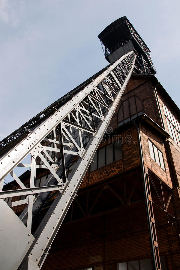 Mining tower old coal mine shaft royalty free stock photo