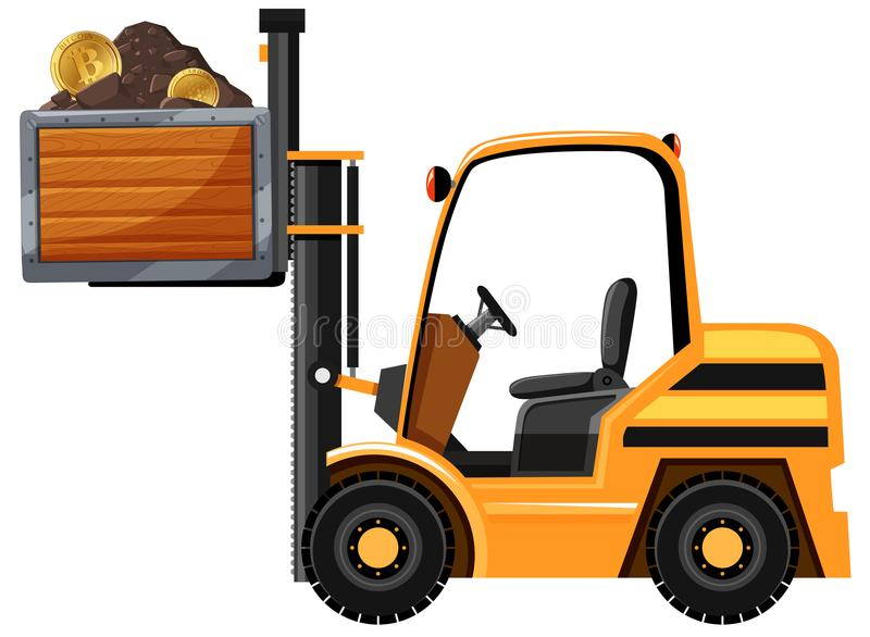 Mining Tractor and Bitcoin. Illustration vector illustration