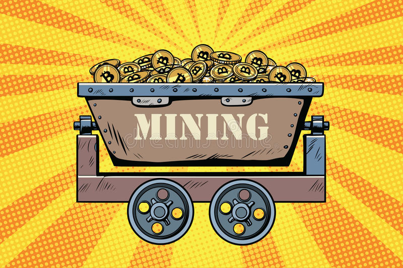 Mining trolley with cryptocurrency bitcoin vector illustration