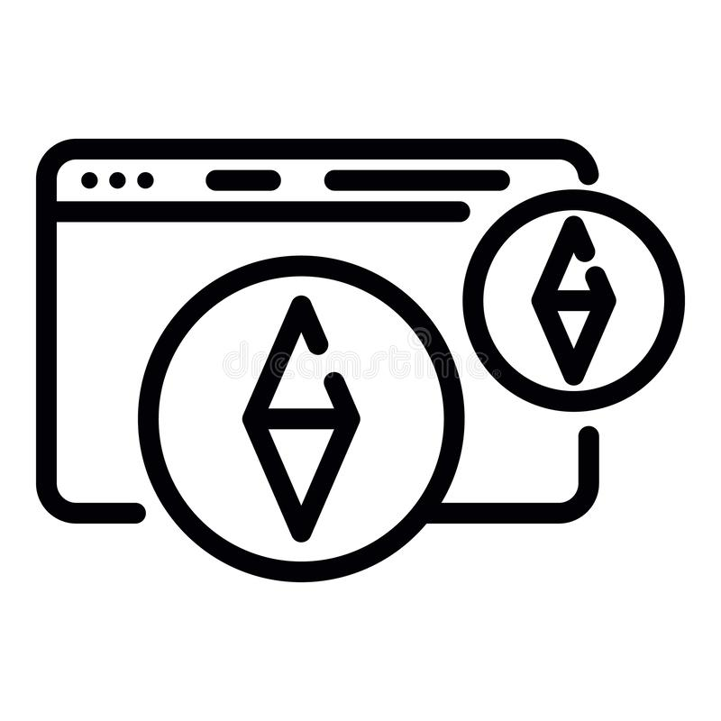 Mining web page icon, outline style vector illustration