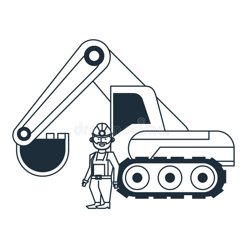 Mining worker with backhoe. In black and white vector illustration graphic design royalty free illustration