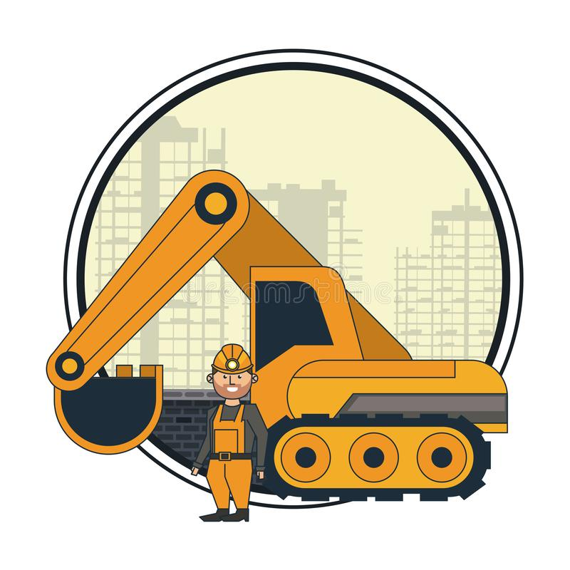 Mining worker with backhoe. Over cityscape round icon vector illustration graphic design royalty free illustration