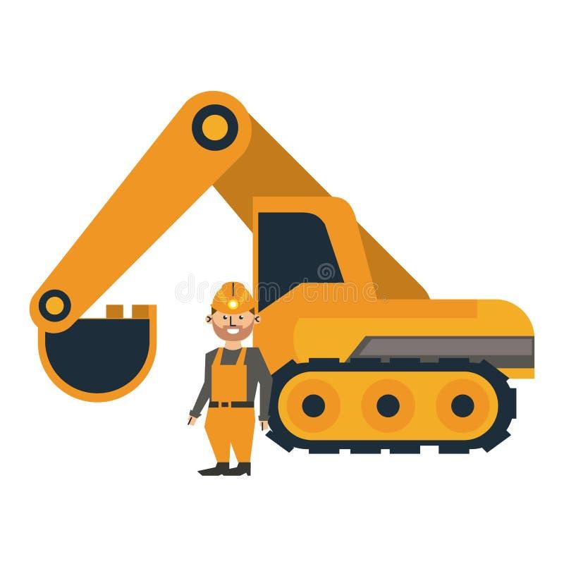 Mining worker with backhoe. Vector illustration graphic design vector illustration