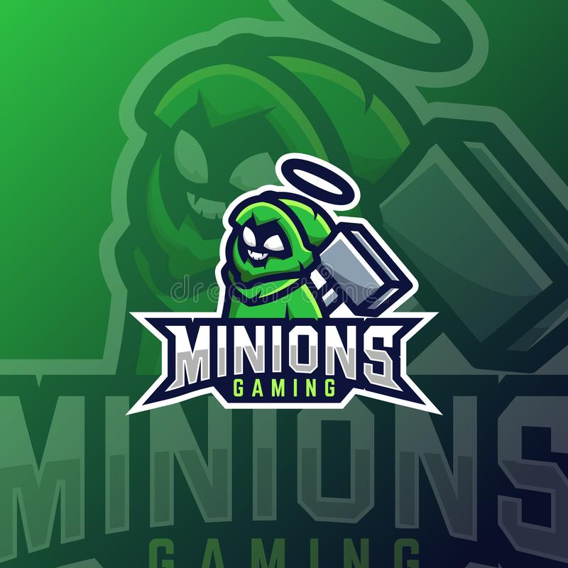 Minions E sport Logo Vector Design Template For Team 向量例证