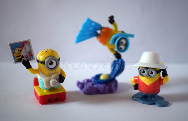 Minions on vacation figures 2 royalty free stock images