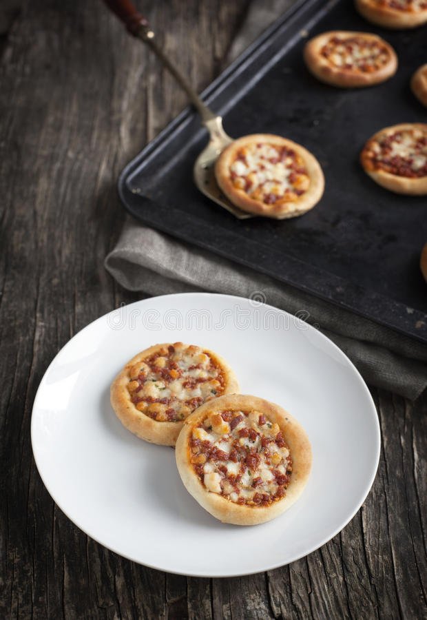 Minipizza met pepperonis royalty-vrije stock foto