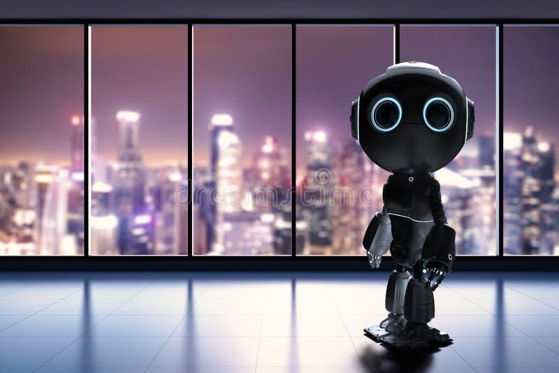Minirobot in bureau vector illustratie