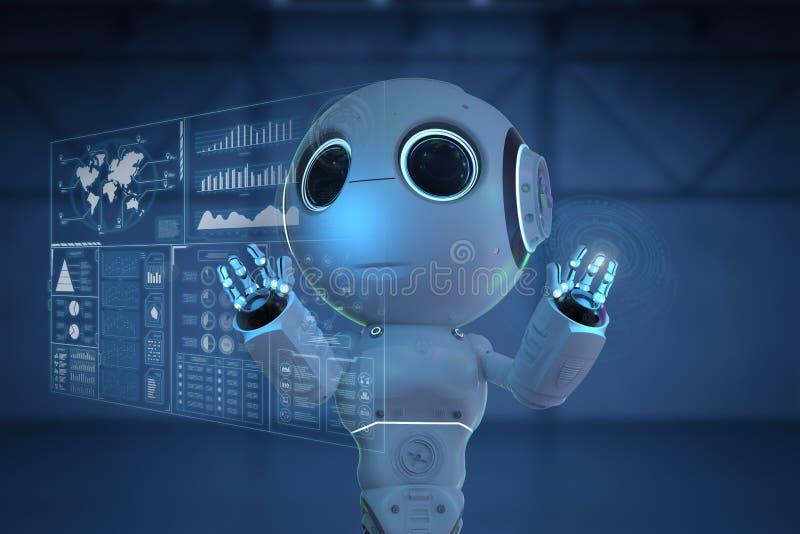 Minirobot met hud stock illustratie