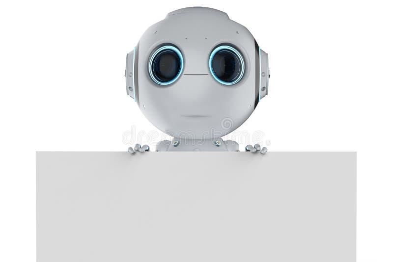 Minirobot met lege nota royalty-vrije illustratie