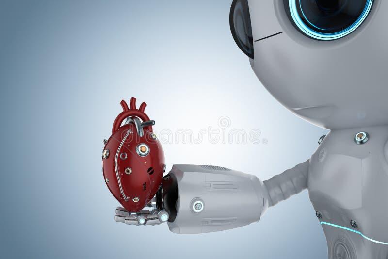Minirobot met robotachtig hart royalty-vrije illustratie